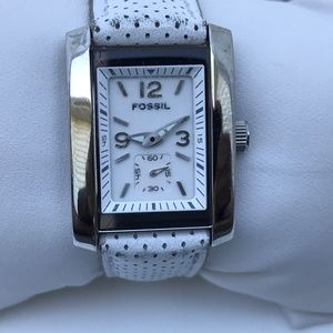 Fossil Ladies Watch White Genuine Band Water Resis